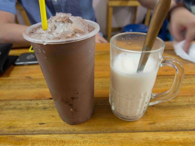 Iced Milo and Hot Fresh Milk