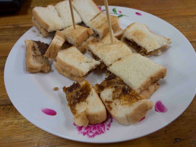 Toast with chilli and pork floss and Toast with Sweetended Milk and Milo powder